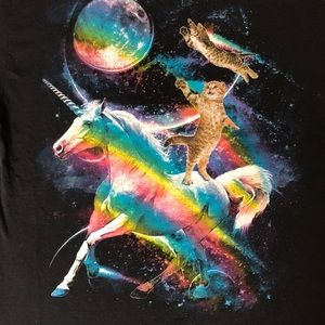 Unicorn cats rainbows in space fantasy graphic tee